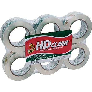 Duck® Crystal-Clear Packing Tape, 1.88