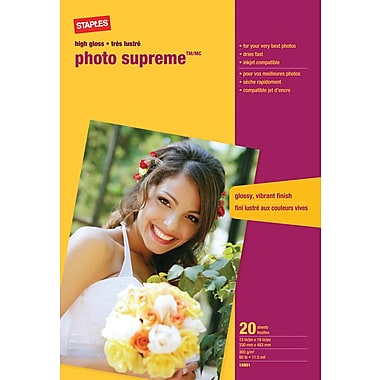 Staples® - Papier photo Supreme grand format, lustré, 13 po x 19 po, paq./20