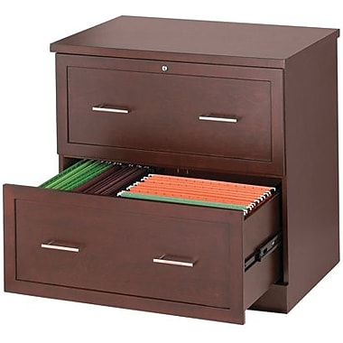 staples® wood lateral file cabinet, 2 drawer, light mahogany | staples