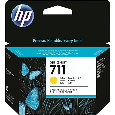 HP 711 Yellow Ink Cartridge, 3/Pack (CZ136A)