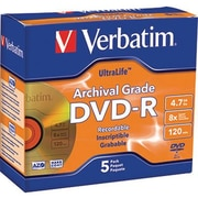 Verbatim® Archival Grade DVD-R 4.7GB, 8x, 5/Pack with Jewel Cases