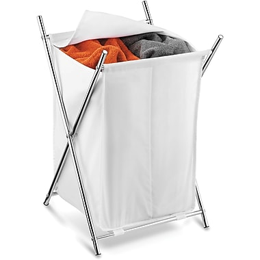 Honey Can Do Chrome 2-Compartment Folding Hamper, Chrome/White (HMP-01125)