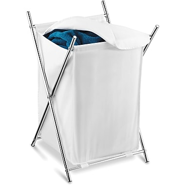 Honey Can Do Chrome Folding Hamper, w/cover, White (HMP-01126)