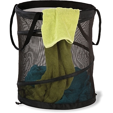 Honey Can DoMD – Grand panier à linge compressible en filet, noir