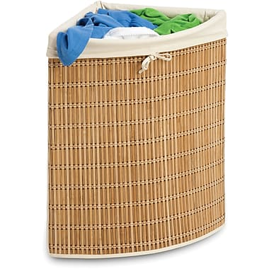 Honey Can Do Bamboo Wicker Corner Hamper, natural bamboo/beige canvas (HMP-01618)