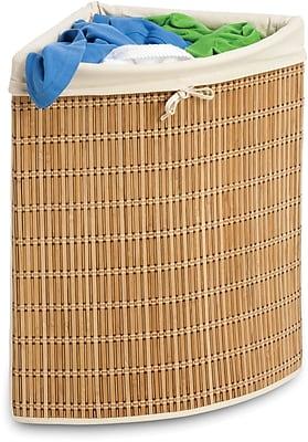 Honey Can Do Bamboo Wicker Corner Hamper, natural bamboo/beige canvas (HMP-01618)