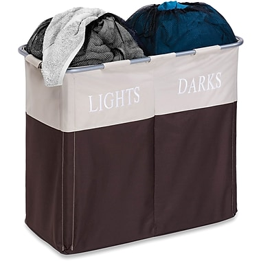 Honey Can Do® Dual Compartment Hamper, Light/Dark