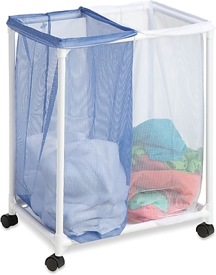 Honey Can Do 2 Bag Mesh Laundry Sorter, blue/white (HMP-01628)