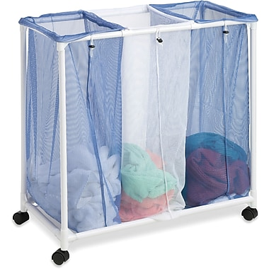 Honey Can Do 3 Bag Mesh Laundry Sorter, blue/white (HMP-01629)