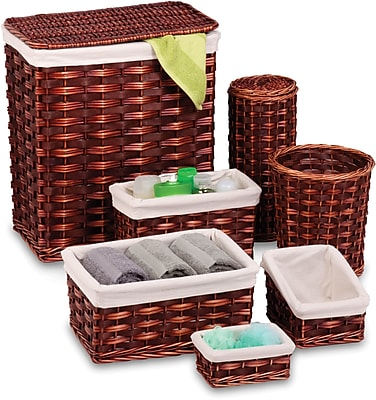 Honey Can Do 7 Piece Wicker Hamper Kit, brown/cherry (HMP-01866)