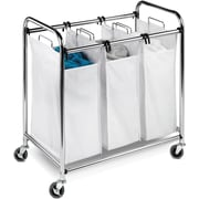 Honey Can Do Heavy-duty 3 section sorter, chrome/white (SRT-01235)
