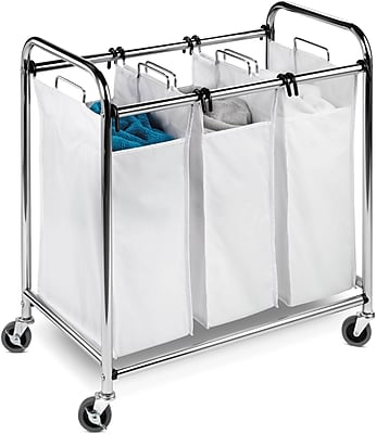 Honey-Can-Do Heavy Duty 3 Section Laundry Sorter, Chrome & White (SRT-01235)