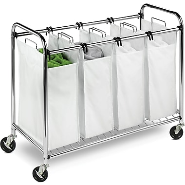 Honey Can Do Heavy Duty Quad Rolling Laundry Sorter Hamper, Chrome/White (SRT-01158)