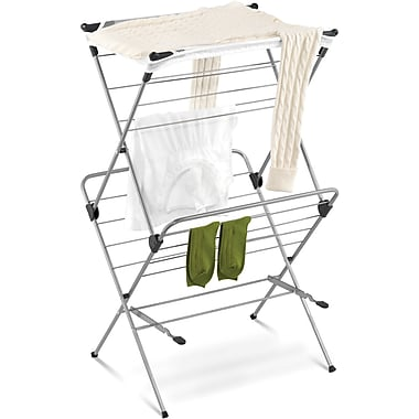 Honey Can Do 2-Tier Mesh Top Drying Rack, 33 Linear Feet, Gray/Blue (DRY-01104)