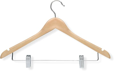 Honey Can Do 12 Pack Basic Suit Hanger With Clips, Maple, 12/Pack