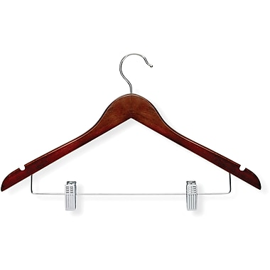 Honey Can Do 12 Pack Basic Suit Hanger With Clips, Cherry, 12/Pack