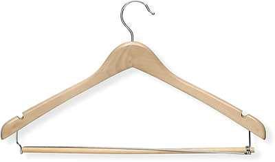 Honey Can Do Contoured Suit Hanger With Locking Bar - Maple, 6/Pack
