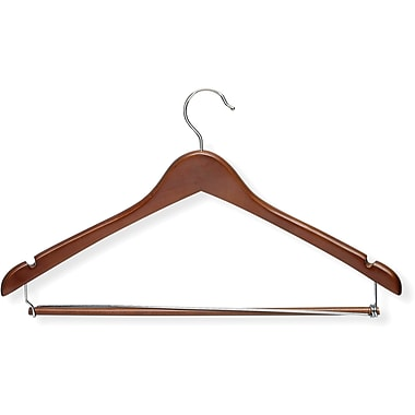 Honey Can Do Contoured Suit Hanger With Locking Bar - Cherry