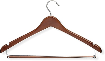 Honey Can Do Contoured Suit Hanger With Locking Bar - Cherry, 6/Pack