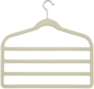 Honey Can Do 10 Pack Velvet Touch 4-Step Pant Hanger, Ivory, 10/Pack