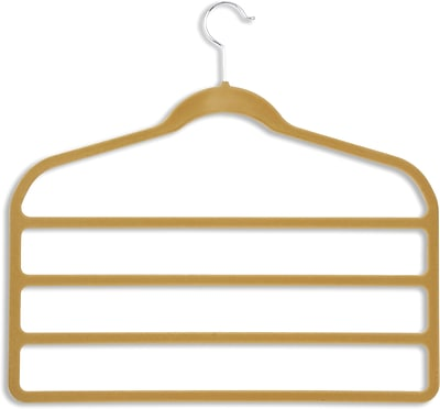 Honey Can Do 10 Pack Velvet Touch 4-Step Pant Hanger, Camel, 10/Pack