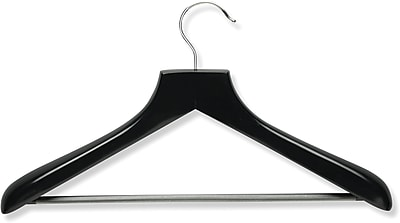 Honey Can Do Curved Wood Suit Hanger, Ebony, 2/Pack