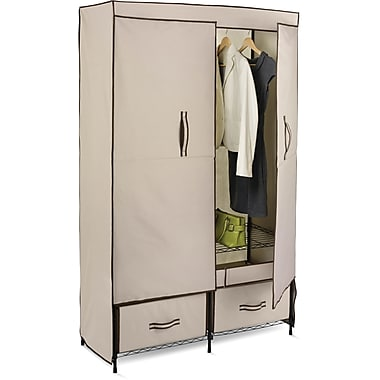 Honey Can Do Double-Door Wardrobe With Two Drawers, Khaki/Brown Trim (WRD-01274)