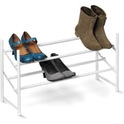 Honey Can Do 2-Tier Expandable Shoe Rack, White (SHO-01167)