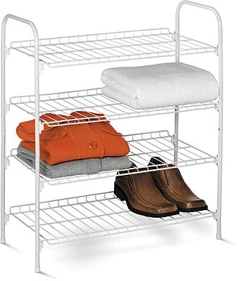 Honey Can Do 4 tier Wire Shoe & Accessory Shelf, white (SHO-01172)