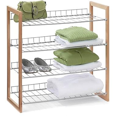 Honey Can Do 4 Tier Wood and Metal Storage Shelf, wood frame/silver (SHO-01384)