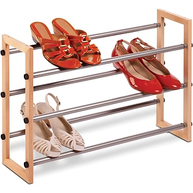 Honey Can Do 3 tier Expandable Wood And Metal Shoe Rack, wood frame/silver (SHO-01372)