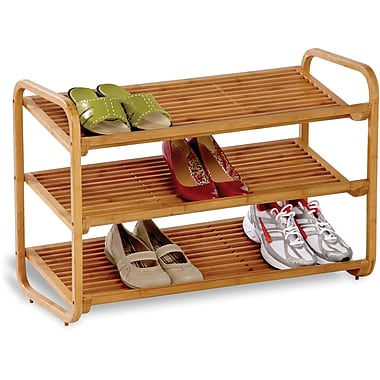 Honey Can Do 3-tier Deluxe Bamboo Shoe Shelf, natural finished bamboo (SHO-01599)
