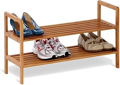 Honey Can Do 2-Tier Bamboo Shoe Shelf, natural finished bamboo (SHO-01600)