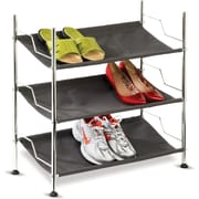Honey Can Do 3 Tier Canvas Shoe Rack, chrome and charcoal gray (SHO-01818)