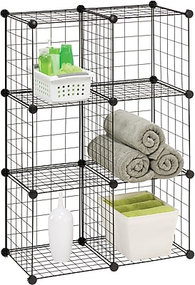 Honey Can Do 6 Pack Modular Mesh Storage Cubes, Black