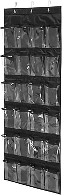Honey Can Do 24 Pocket Over-Door Shoe Organizer, Black (SFT-01249)