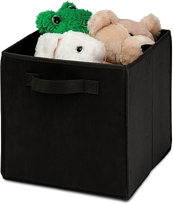 Honey Can Do 4 Pack Non-Woven Foldable Cube, Black (SFTZ01759)