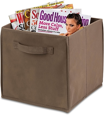 Honey Can Do 4 Pack Non-Woven Foldable Cube, Taupe (SFTZ01214)