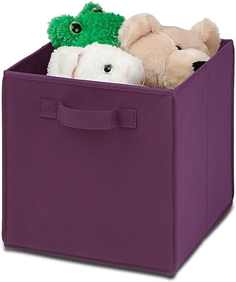 Honey Can Do 4 Pack Non-Woven Foldable Cube, Purple (SFTZ01763)