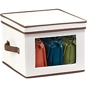 Honey Can Do Natural Canvas Medium Window Storage Box, natural canvas with brown accents (SFT-02063)