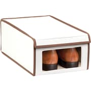 Honey Can Do Medium Natural Canvas Window Shoe Box, natural canvas with brown accents (SFT-02065)