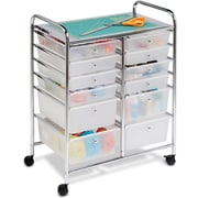 Honey Can Do 12 Drawer Plastic Storage Drawer Cart, Translucent White/Chrome (CRT-01683)