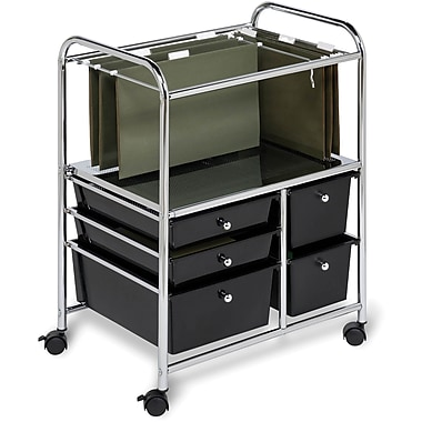 Honey Can Do 5 Drawer Hanging File Cart, Black/Chrome (CRT-01512)