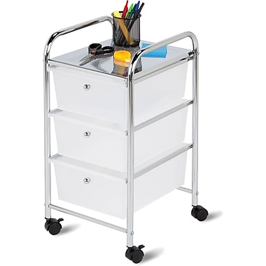 Honey Can Do 3 Drawer Plastic Storage Drawer Cart, Chrome/Clear (CRT-02215)