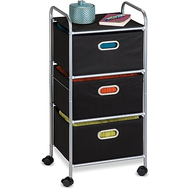 Honey Can Do 3 Drawer Fabric Storage Cart, Silver/Black (CRT-02184)