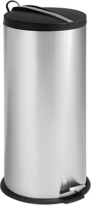 Honey Can Do 7.9 gal. 2-Tone Stainless Steel Round Step Trash Can, Silver