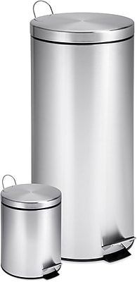 Honey Can Do 7.9 & 0.8 gal. Stainless Steel Step Trash Can, Silver