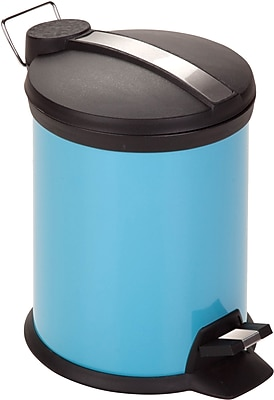 Honey Can Do 0.8 gal. Plastic Step Trash Can, Blue
