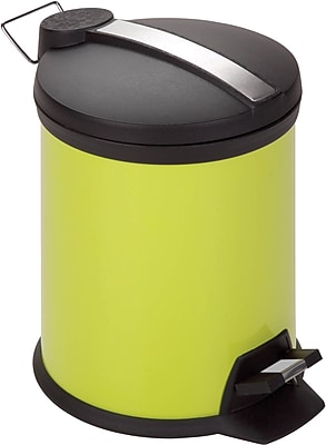 Honey Can Do 1.3 gal. Plastic Step Trash Can, Green