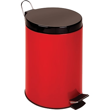 Honey Can Do 3.2 gal. Plastic Step Trash Can, Red
